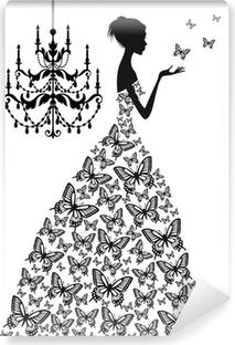 Fototapeta winylowa Kobieta z motylami, wektor