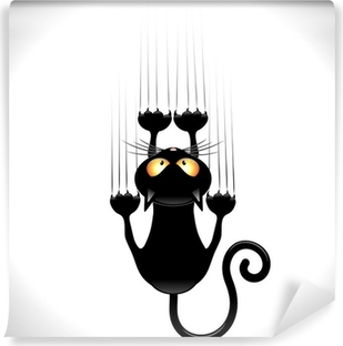 Fototapeta winylowa Kot kreskówka zarysowania czarny kot na ścianie ściana zarysowania