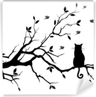 Fototapeta winylowa Kot na drzewie z ptakami, wektor