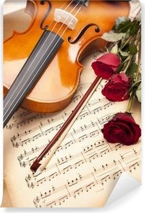 Vinylová Fototapeta Krásné růže a housle!