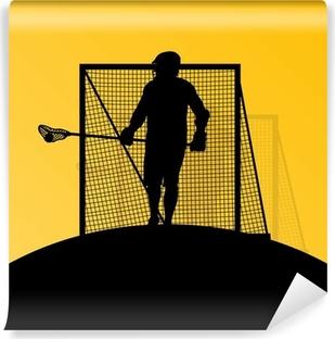 Vinylová Fototapeta Lacrosse hráči aktivní muži sportovní siluety pozadí illust