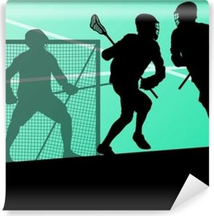 Vinylová Fototapeta Lacrosse hráči aktivní sportovní pozadí siluety illustrati