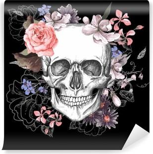 Vinylová Fototapeta Lebka a květiny Den mrtvých