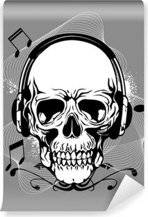 Vinylová Fototapeta Lebka s sluchátka