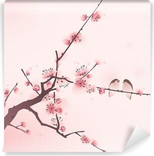 Fototapeta winylowa Malarstwo styl orientalny, kwiat wiśni wiosną