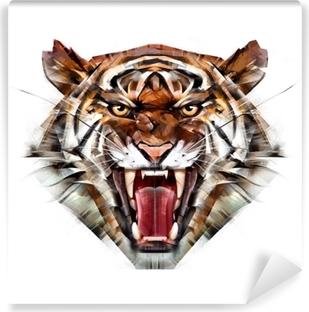 Vinylová fototapeta Malované barevné portrét tygr papoušek na bílém pozadí