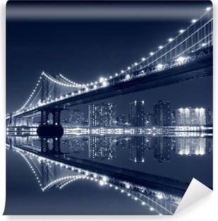 Vinylová Fototapeta Manhattan Bridge a Manhattan skyline v noci