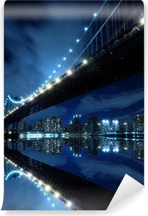 Vinylová Fototapeta Manhattan Bridge At Night Lights, New York City