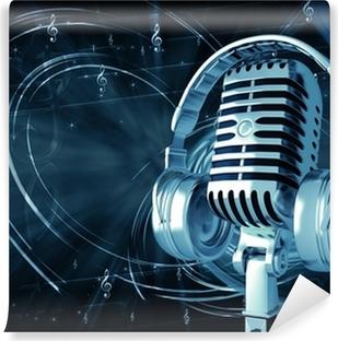 Vinylová Fototapeta Mikrofon se sluchátky na hudebním pozadí