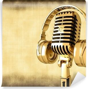 Vinylová Fototapeta Mikrofon se sluchátky na staré pozadí