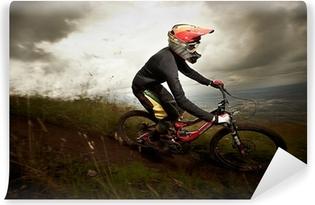 Vinylová Fototapeta Mladý muž na koni na horském kole z kopce styl