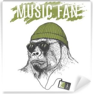 Vinylová fototapeta Monkey poslech hudby na sluchátka