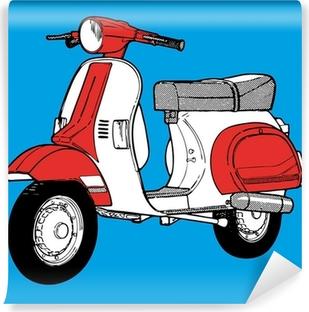 Vinylová Fototapeta Moto koloběžka motocykl retro vinobraní klasické vektorové ilustrace
