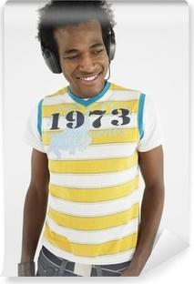 Vinylová Fototapeta Muž na sobě sluchátka ve studiu