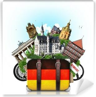 Vinylová Fototapeta Německo, němčina památek, cestování a retro kufr