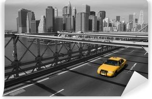 Vinylová Fototapeta New York - Brooklyn Bridge e taxi giallo