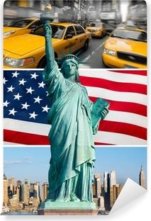 Fototapeta winylowa Nowy jork, pomnik de la Liberté, taxi, skyline