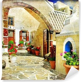 Vinylová Fototapeta Obrazová ulice Santorini