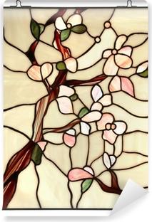 Vinylová Fototapeta Okno z barevného skla s květinovým vzorem na bílém