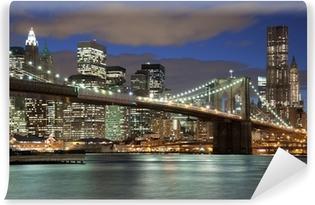 Vinylová Fototapeta Panorama New Yorku, Brooklyn Bridge