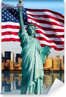 Fototapeta winylowa Panoramę Nowego Jorku, pomnik de la Liberte