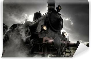 Vinylová Fototapeta Parní vlak v dešti