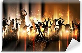 Vinylová Fototapeta Party zvuk v pozadí Ilustrace s tančících lidí