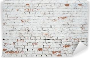 Fototapeta winylowa Pęknięty białe cegły ściany grunge teksturę tła barwione stare