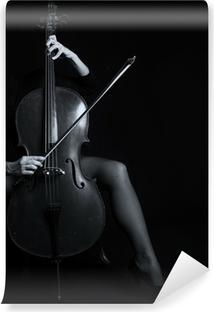Fototapeta winylowa Piękna kobieta gospodarstwa wiolonczela z selektywnej światła i czarny d