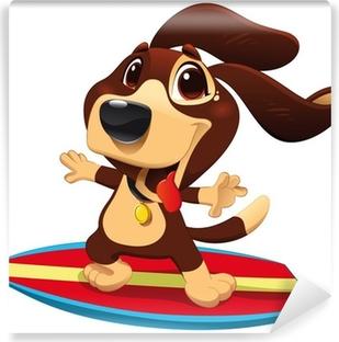 Fototapeta winylowa Pies z surfowania. śmieszne kreskówki i wektor sportowy charakter