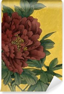 Vinylová Fototapeta Pivoňka květ na zlatém pozadí