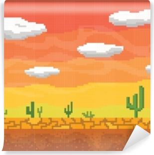Fototapeta winylowa Pixel art pustyni bezszwowe tło.