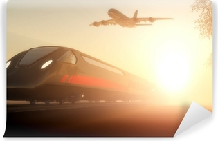 Fototapeta winylowa Pociąg i samolot