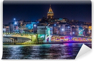 Vinylová Fototapeta Pohled na Istanbul a Galata věž a most v noci