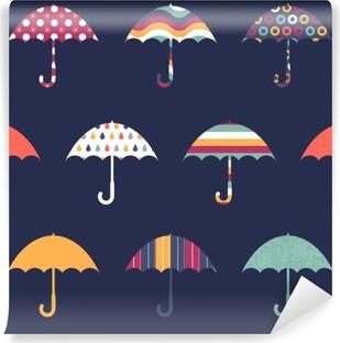 Vinylová Fototapeta Pretty Deštníky Cute Barevné Dětinský bezešvé vzor
