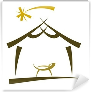 Fototapeta winylowa Prosty rysunek symbolu szopki na Boże Narodzenie