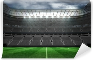 Fototapeta winylowa Pusty stadion piłkarski pod chmurami