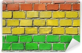 Vinylová Fototapeta Rasta vlajka na cihlové zdi