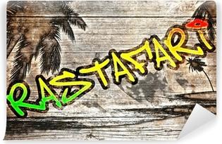 Vinylová Fototapeta Rastafari grafit auf Altera Holzbrett