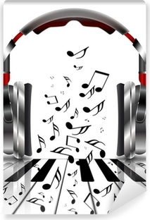 Vinylová Fototapeta Realistické sluchátka s hudbou poznámky