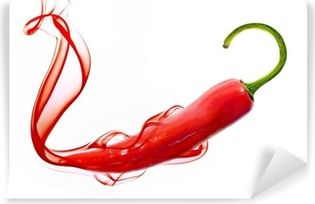 Vinylová Fototapeta Red hot chili pepper kouřem na bílém
