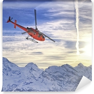 Vinylová Fototapeta Red vrtulník na švýcarských Alp nedaleko hory Jungfrau