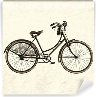 Vinylová Fototapeta Retro stylizovaný obraz vinobraní dáma na kole