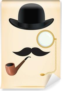Fototapeta winylowa Retro zestaw elementów: melonik, wąsy, tytoń fajkowy i monokl