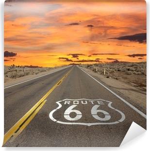 Vinylová Fototapeta Route 66 Pavement Sign slunce Mohavské poušti