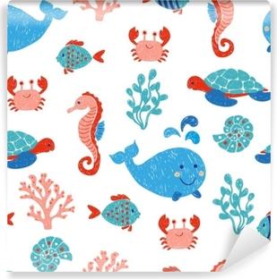 Vinylová fototapeta Roztomilé mořské zvířata bezešvé vzor v modré a růžové  barvy. vektorové pozadí s e6145edc36