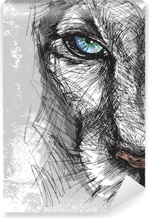 Vinylová Fototapeta Ručně malovaná skica lva pohledu upřeně na kameru