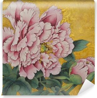 Vinylová Fototapeta Růžová pivoňka květ na zlatém pozadí
