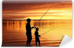 Vinylová Fototapeta Rybář siluety při východu slunce
