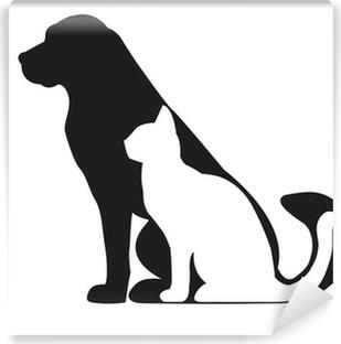 Fototapeta samoprzylepna Czarna sylwetka psa i kota białego na białym tle